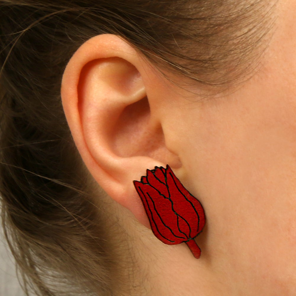 Image of lasered wooden earrings TULIPA