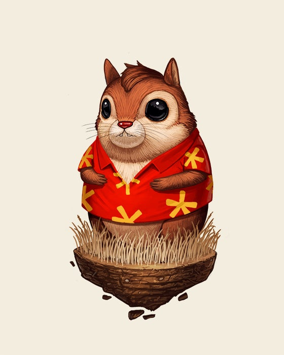 Image of Chipmunk with Hawaiin Shirt