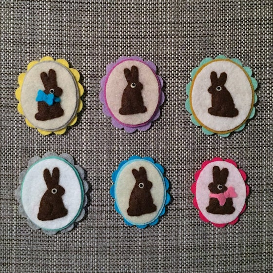 Image of cameo brooches // chocolate bunny edition