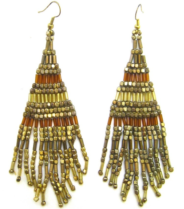 Image of Boho Chic Fringe Beaded Earrings