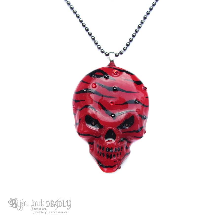 Image of Red Zebra Stripe Resin Skull Necklace
