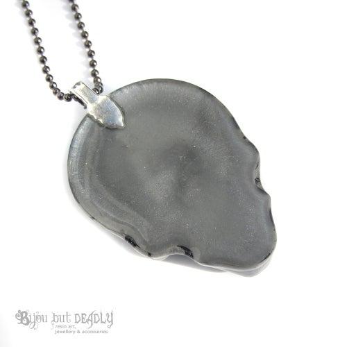 Image of Grey/Silver Zebra Stripe Resin Skull Necklace