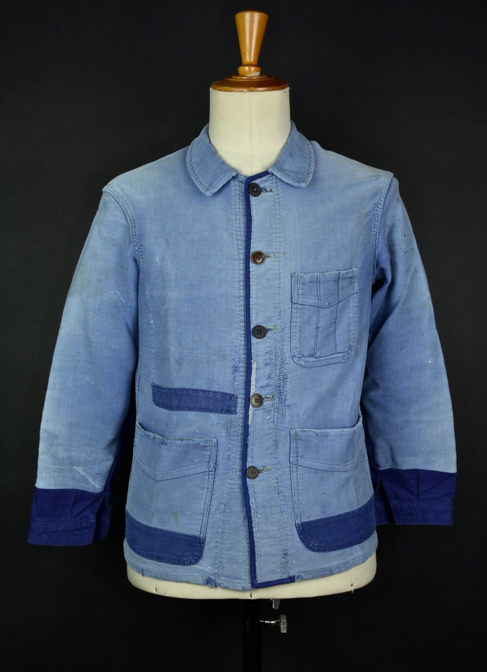 Image of 1950'S FRENCH BLUE MOLESKIN WORK JACKET FADED & PATCHED 1
