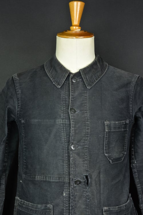 Image of 1940'S FRENCH BLACK MOLESKIN WORK JACKET FADED