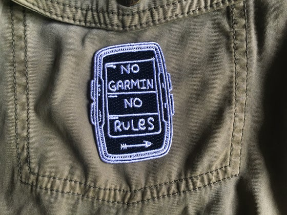 """Image of """"No Garmin No Rules"""" Black Embroidered Patch plus Sticker"""