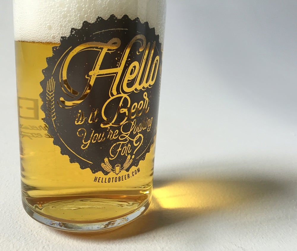 """Image of """"Hello is it Beer You're Looking For?"""" pint glass!"""