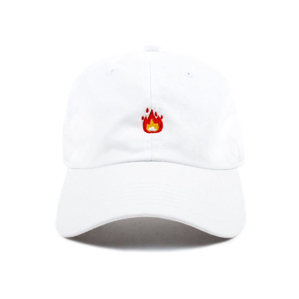 "Image of  ""Fire"" Low Profile Sports Cap - White"