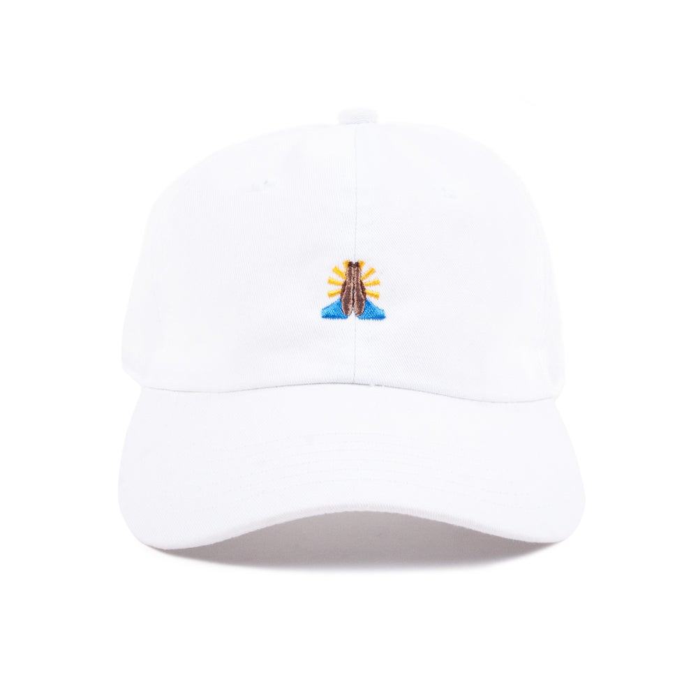 "Image of  ""Pray"" Low Profile Sports Cap - White"