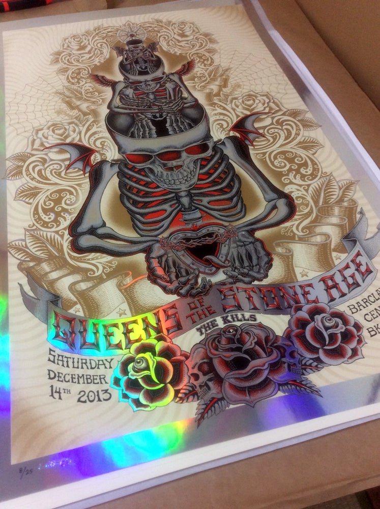"Image of QOTSA ""Stacked Skeletons"" Foil by EMEK"
