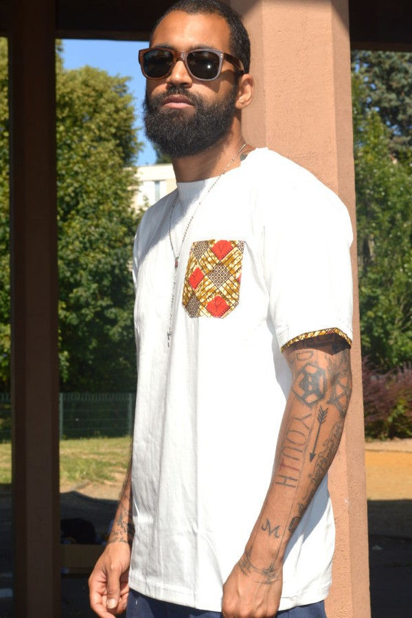 Image of J.Wax White T-shirt with Red Brown Dutch Wax Fabric Pocket