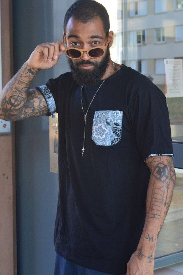 Image of J.Wax Black T-shirt with Sky Blue Real Wax Fabric Pocket