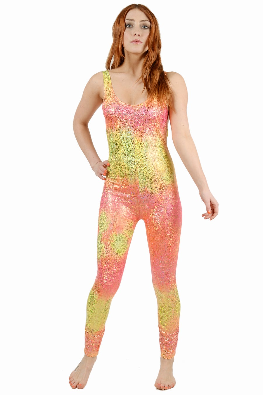 Image of Ombre Peach Disco Mermaid Catsuit