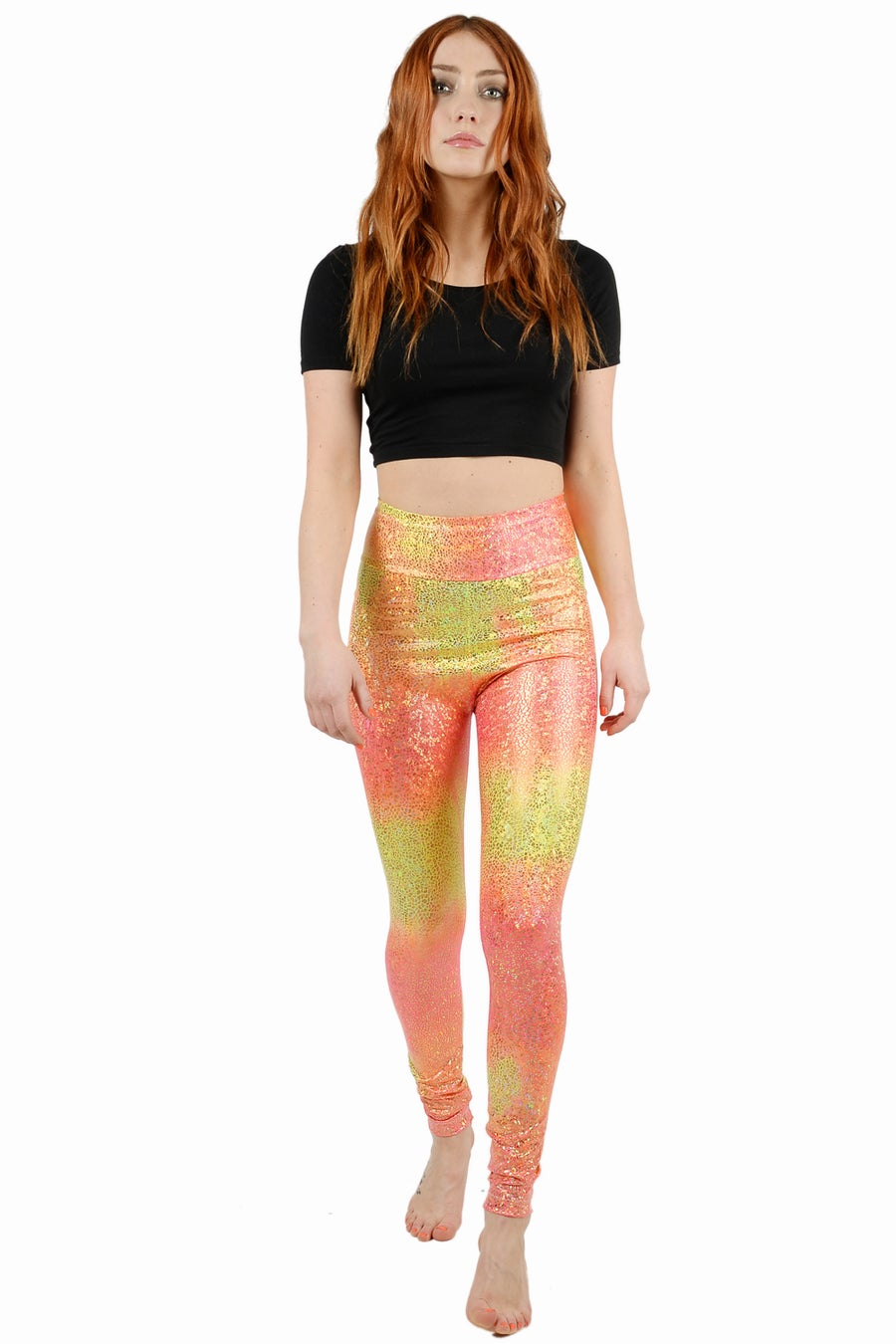 Image of Ombre Peach Disco Mermaid Leggings