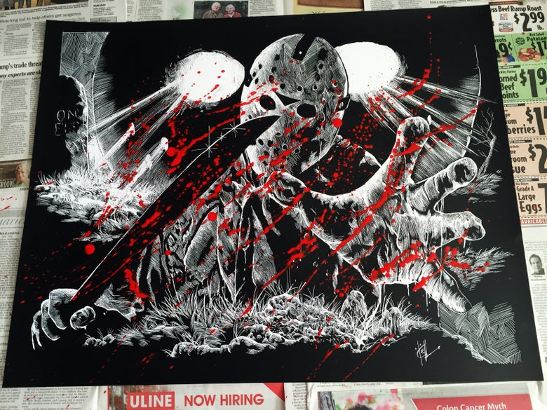Image of FRIDAY THE 13TH JASON VOORHEES Limited Edition Screen Print- BLOOD SPLATTERED EDITION!!