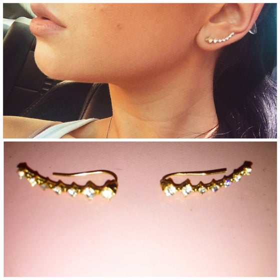 Image of Four Prong Gold Ear Hook Stud