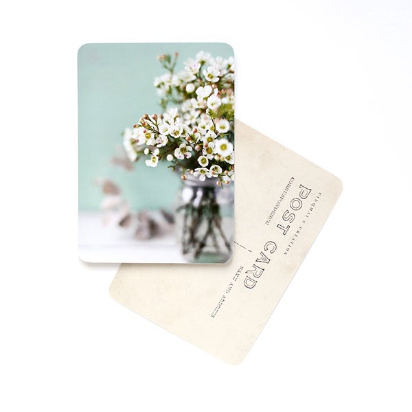 Image of Carte Postale FLOWERS / WHITE AND MINT