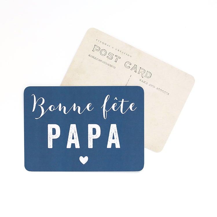 Image of Carte Postale BONNE FÊTE PAPA / MILA / BLEU NUIT
