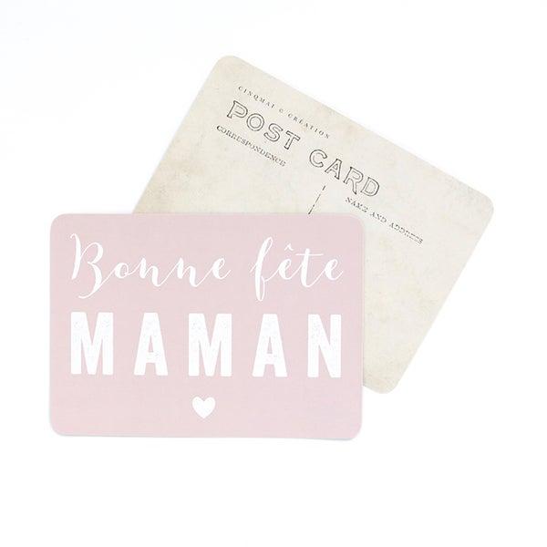 Image of Carte Postale BONNE FÊTE MAMAN / MILA / ROSE POUDRE