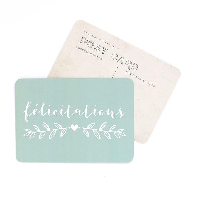 Image of Carte Postale FELICITATIONS / MILA / VERT MENTHE