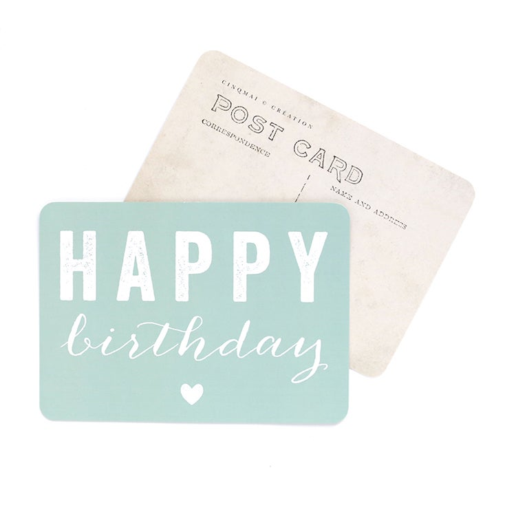 Image of Carte Postale HAPPY BIRTHDAY / COEUR / MENTHE