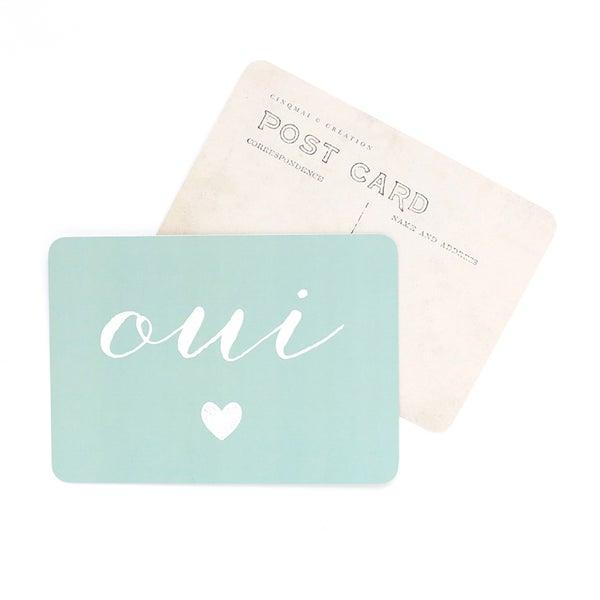 Image of Carte Postale OUI / COEUR / VERT MENTHE