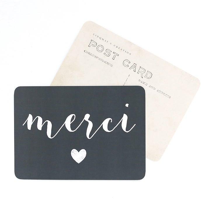Image of Carte Postale MERCI / COEUR / ARDOISE