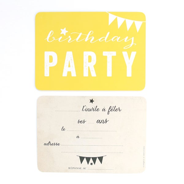 Image of 5 Cartes Postales BIRTHDAY PARTY / CITRON