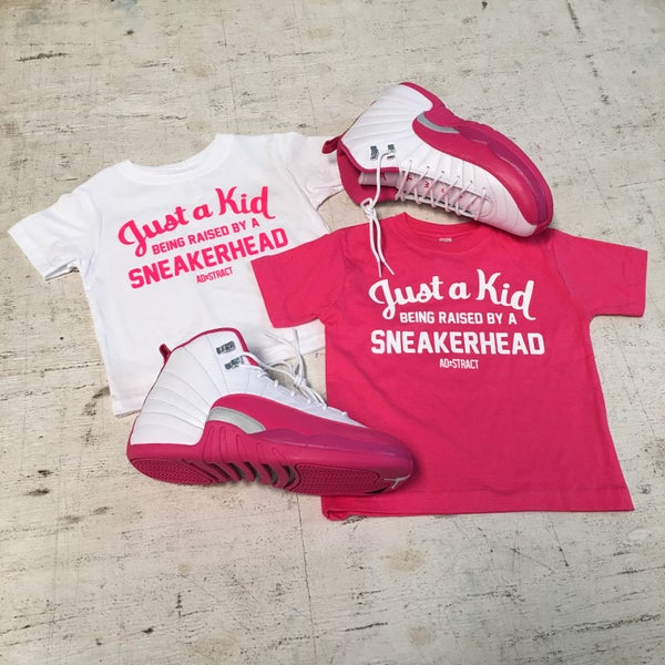 """Image of JUST A KID BEING RAISED BY A SNEAKERHEAD """"PINK/WHITE"""" (INFANT/TODDLERS)"""