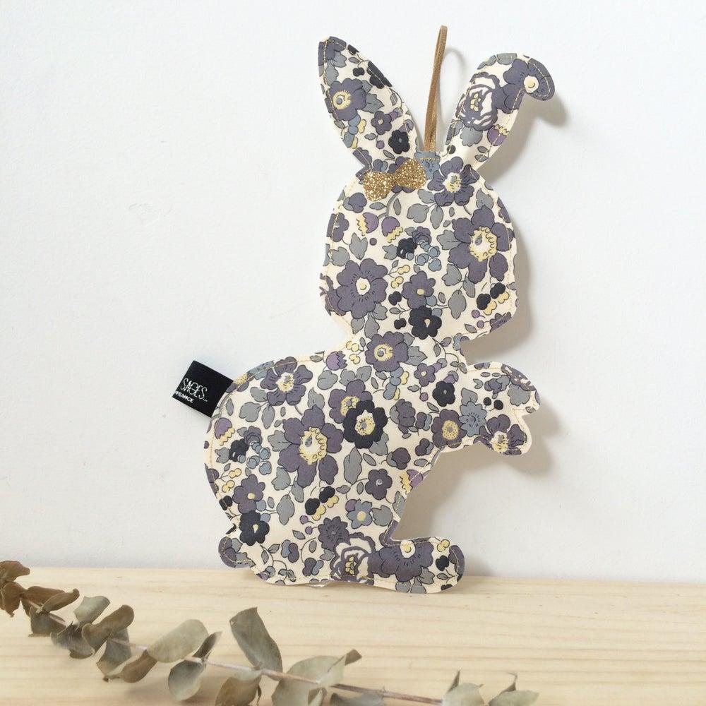 Image of Veilleuse réversible lapin en Liberty gris
