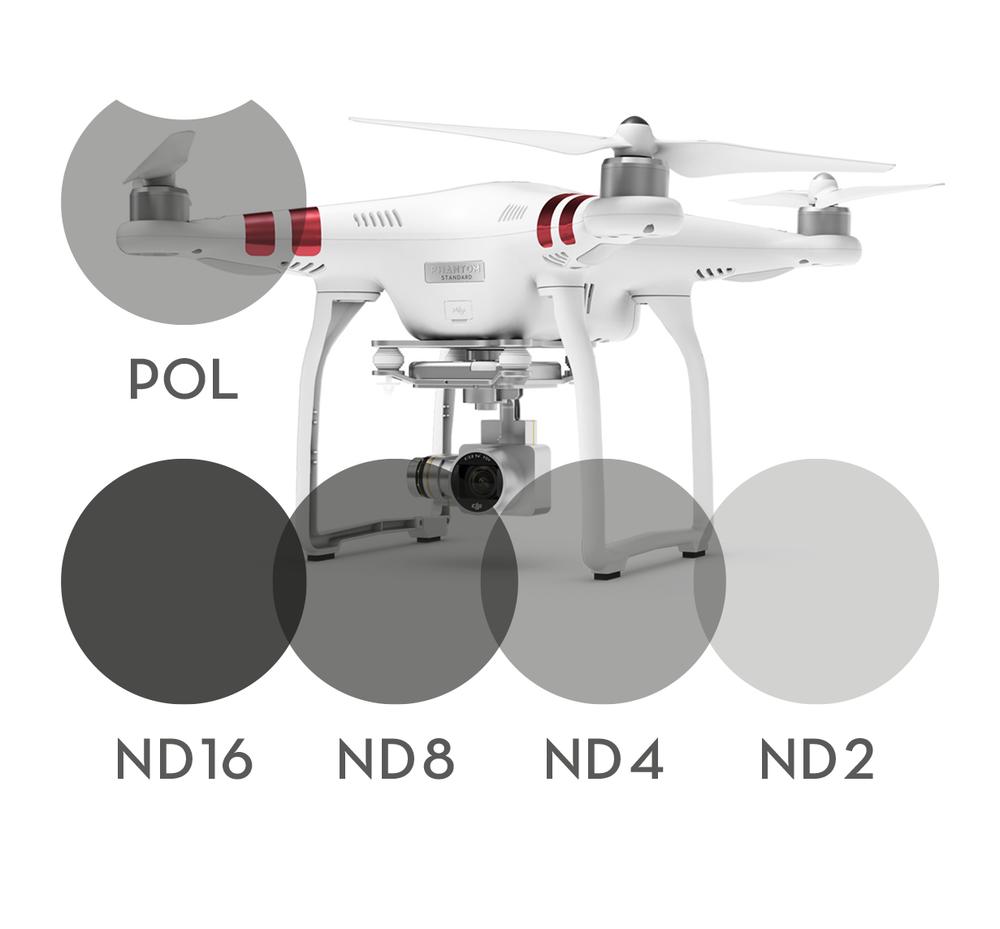 Image of 5-pack 1x Polarizer Filter 4x Neutral Density filters for DJI Phantom 3 Standard