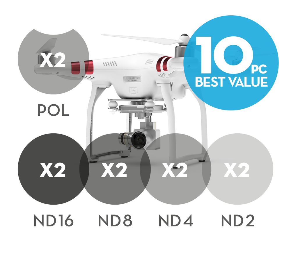 Image of 10-pack 2x Polarizer Filters 8x Neutral Density filters for DJI Phantom 3 Standard