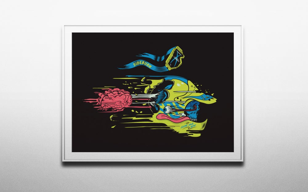 Image of Sideburn Clear Your Head Giclee Print - BLACK