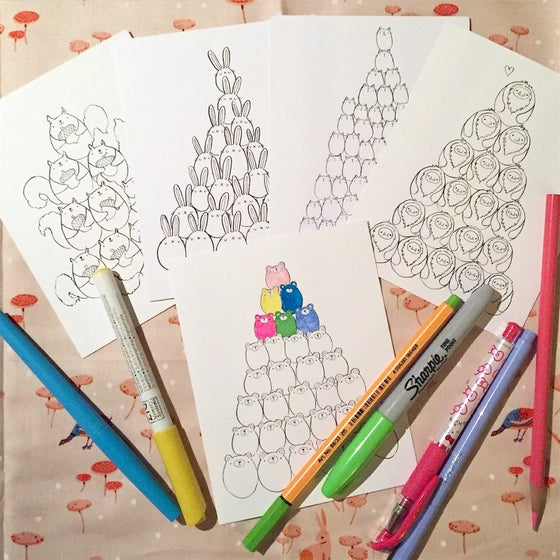Image of animal pile coloring postcards // variety packs