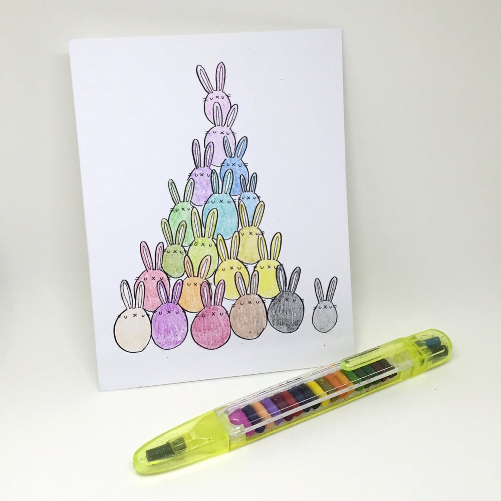 Image of animal pile coloring postcards // singles & one-design packs