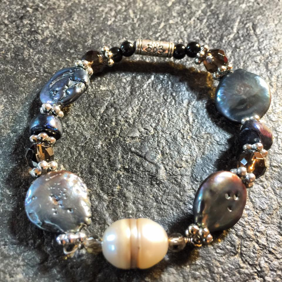 Image of Yemaya~Flow ~White Pearl/Black/Pearl and smoky Quartz with Artesian bead