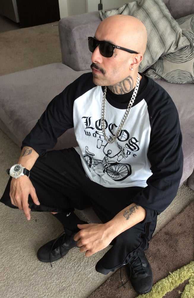 Image of Locos World Wide Bicycle - Long Sleeve White w/Black Sleeves T-Shirt