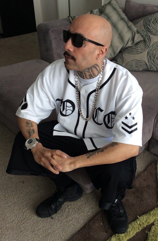 Image of Baseball Jersey - All White / Locos - Black Text