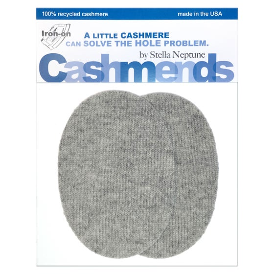Image of Iron-On Cashmere Elbow Patches  - Light Grey Ovals