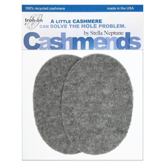 Image of Iron-On Cashmere Elbow Patches  - Medium Grey Ovals