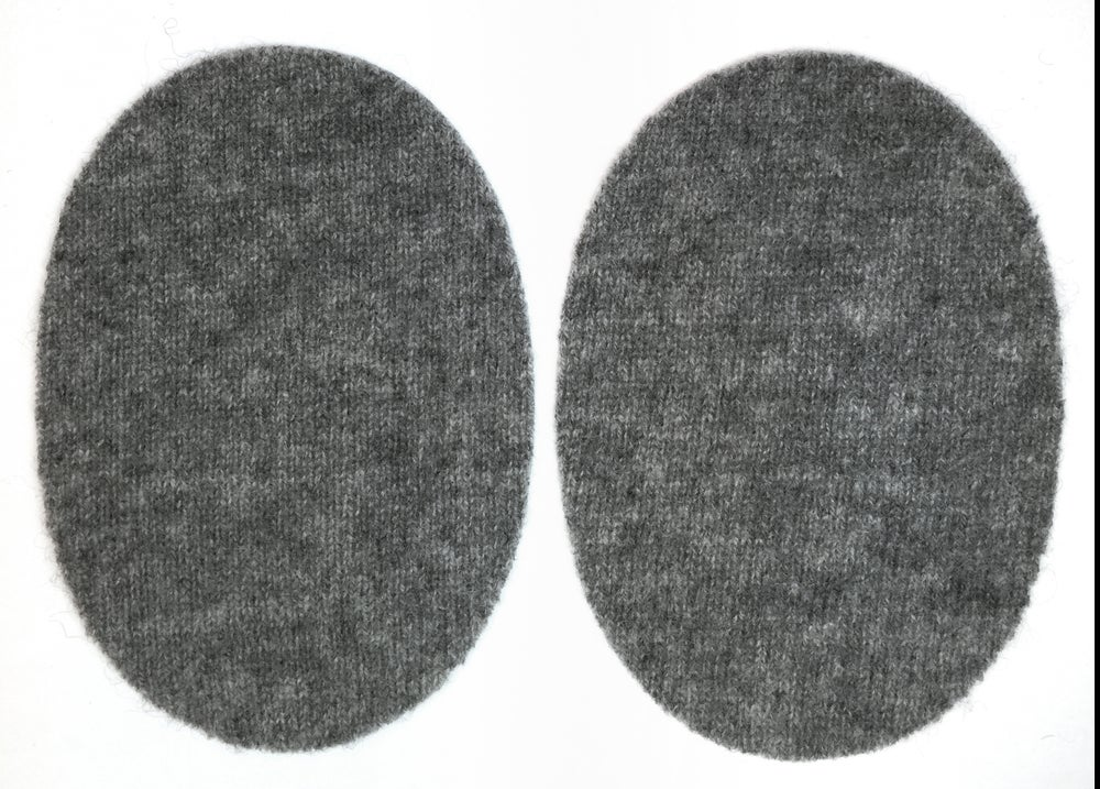 Image of Iron-On Cashmere Elbow Patches - Dark Grey Ovals