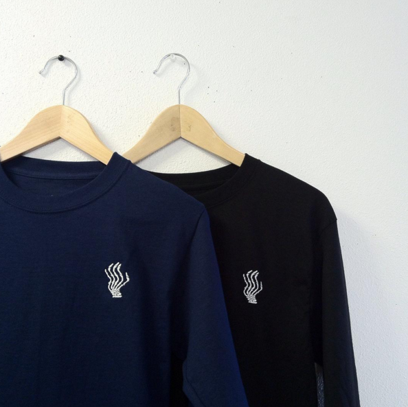 Image of Embroidered logo L/S shirt (white, grey, black, or navy)