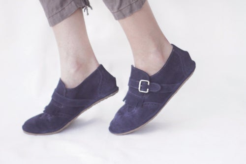 Image of Wingtip Brogues - Fringed in Blue Suede