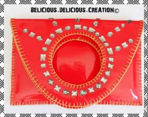 Image of Original '' 2 en 1 Pochette et sac a main !! RED PIERRE FANTASY !! en simili cuir. Rouge