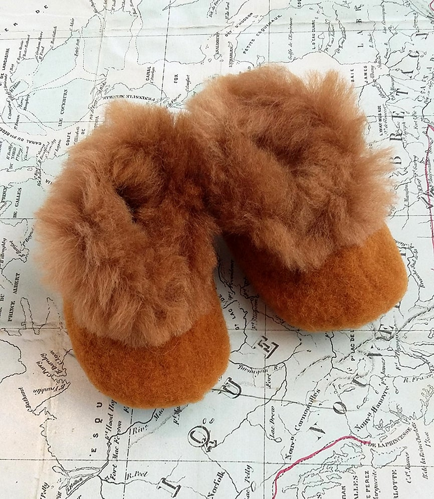 Image of Baby Alpaca Slipper Caramel and Brown