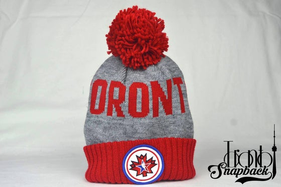 Image of TORONTO ALLSTAR GAME GREY & RED MITCHELL & NESS BEANIE