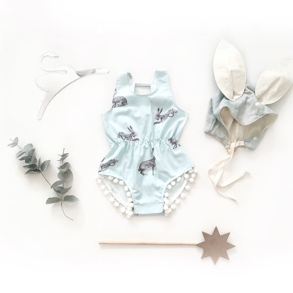 Image of 'boy blue rabbit' pom playsuit