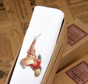 Image of Man's Handkerchief in a gift Box: Pheasant