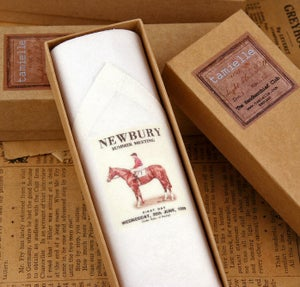 Image of Man's Handkerchief in a gift Box: Horse