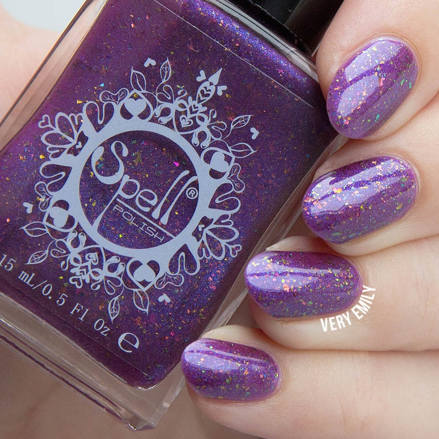 "Image of ~Glittering Owl~ violet flakie shimmer Spell nail polish ""Legends & Dreams""!"