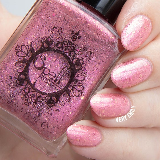 "Image of ~Spider Pearls~ baby pink glitter shimmer Spell nail polish ""Legends & Dreams""!"
